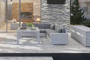 nowoczesne meble tarasowe: Meble ogrodowe MILANO III royal biały