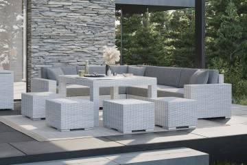 nowoczesne meble tarasowe: Meble ogrodowe MILANO IV royal biały