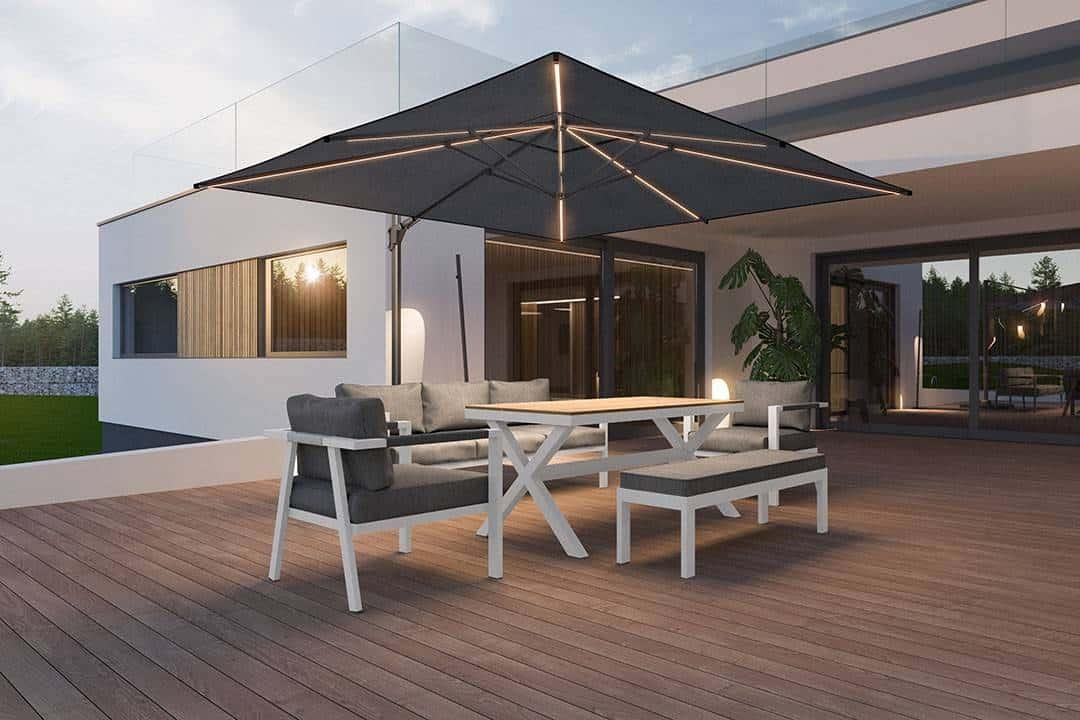 zestaw ogrodowy z parasolem Grado