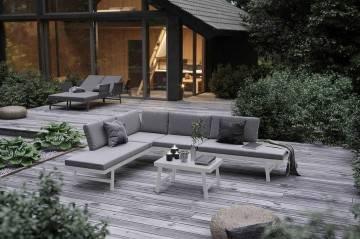 nowoczesne meble ogrodowe: Meble ogrodowe MASCA białe